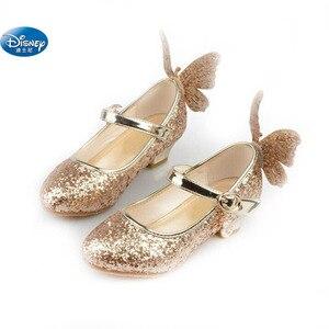 Image 4 - frozen  Elsa princess shoes spring and autumn models pink blue childrens shoes elsa Elsa girls high heels 26 38