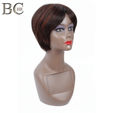 цена на Natural Afro Pixie Cut Short Wig African American Perucas Femininas Heat Resistant Synthetic Straight Hair Wigs for Black Women