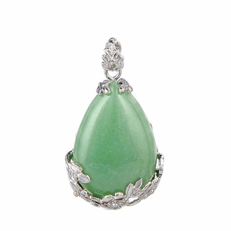 Baru Wanita Batu Alam Tetesan Air Liontin untuk Kalung Fashion Air Mata Bentuk Hitam Putih Ungu Kristal Opal Pesona Wanita Perhiasan