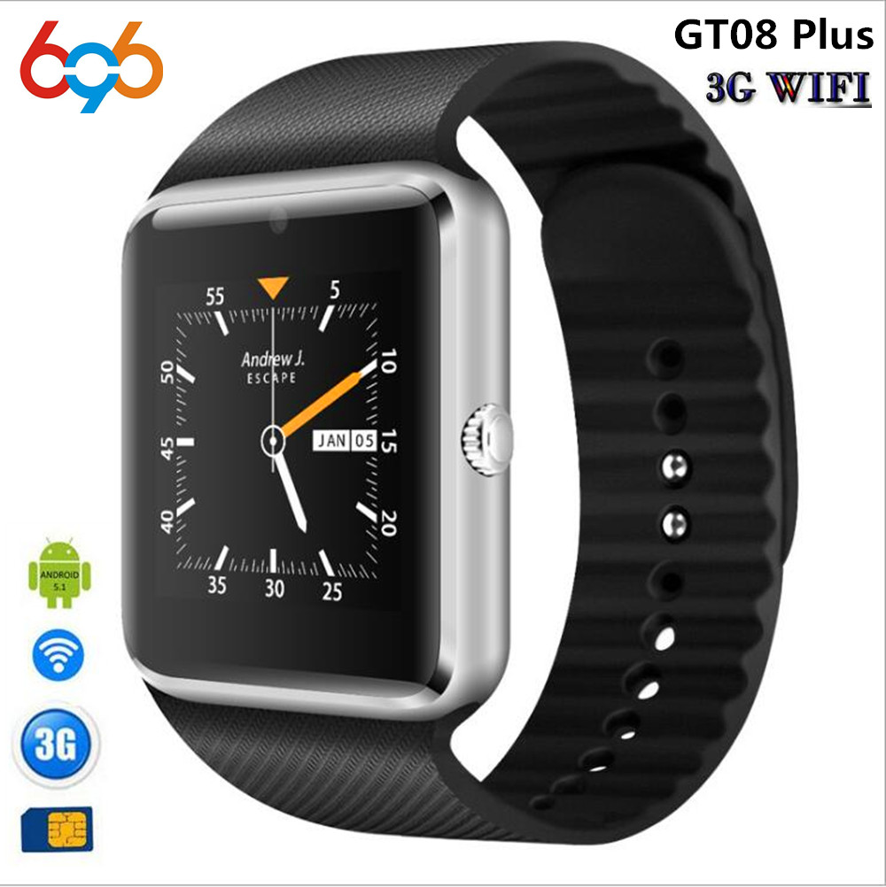 696 3G Wifi Android Smart Watch GT08 Plus With camera Whatsapp Facebook Support Sim Card Play Store Download APP Smart Clock