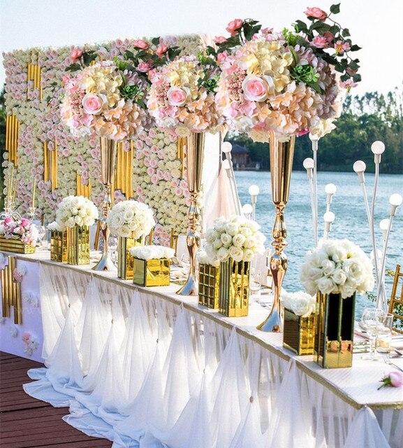 88 Cm Hoch Sparking Gold Hochzeit Blume Vase Tischdekoration