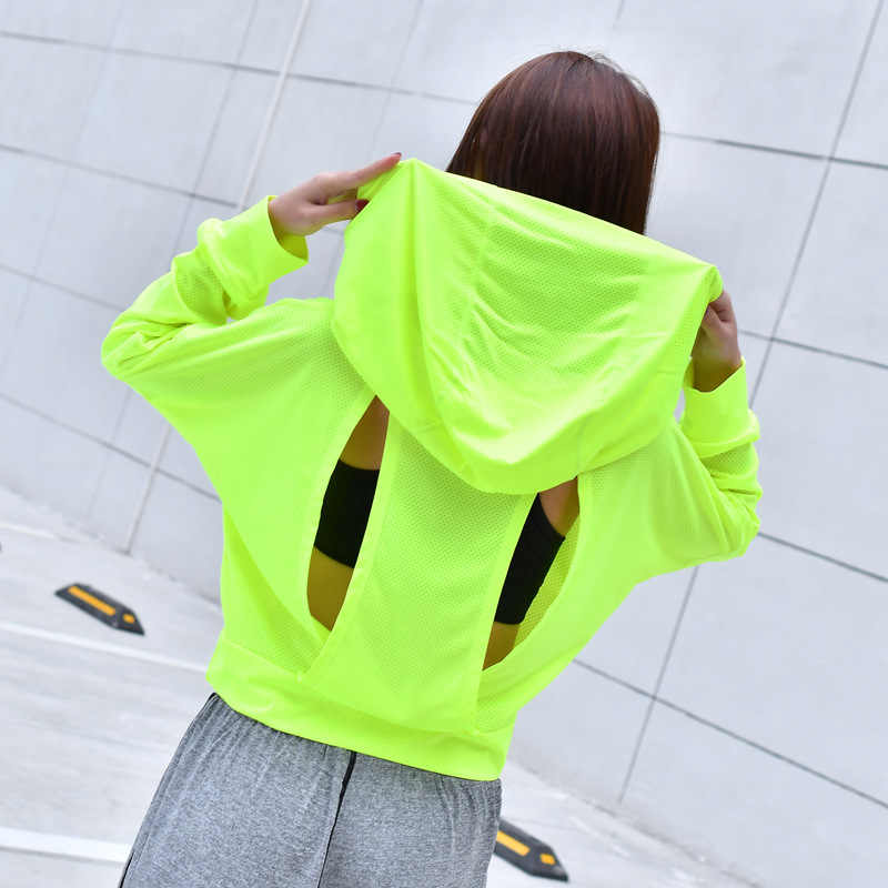 038302057e497 Gym Mesh Long Sleeve Hooded T Shirt Fitness Yoga Crop Top Women Sportswear  Sport Jerseys Hoodie