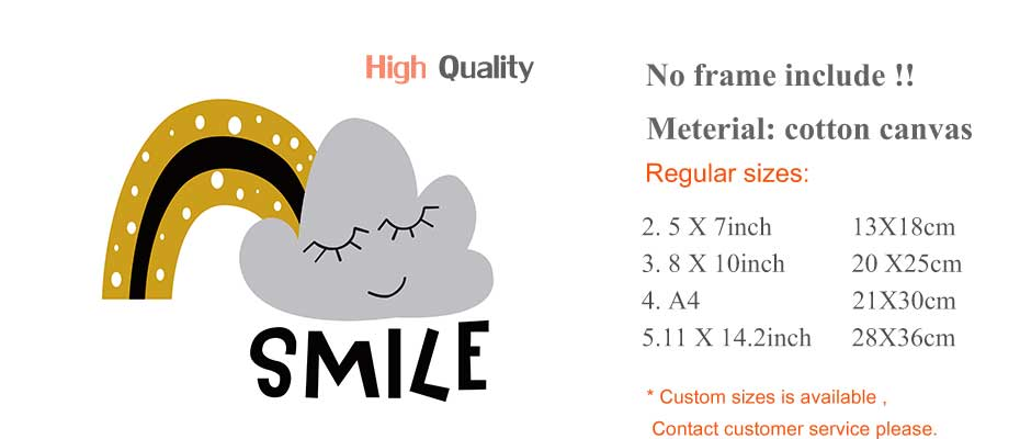 Cartoons Children Prints Posters Rainbow Moon Clouds Canvas Painting On The Wall Sun Art Picture For Baby Kids Bedroom Home Deco (9)