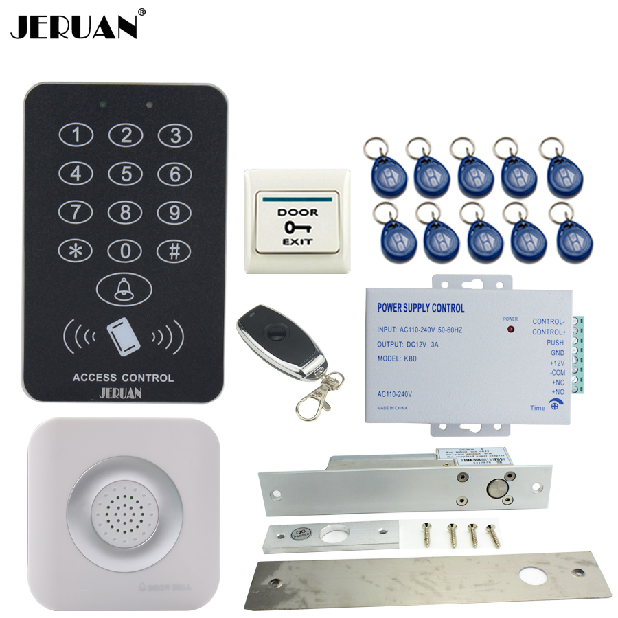 цена на JERUAN RFID Access Controller Door control system kit +Remote control + Exit Button +10 ID Keys +Doorbell + Power In stock
