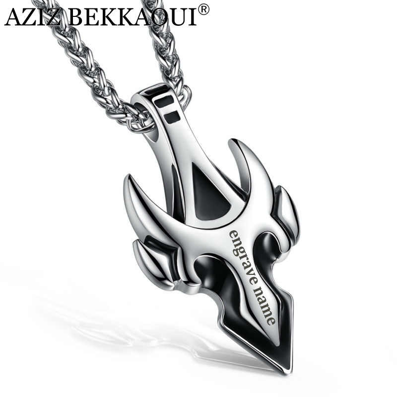 AZIZ BEKKAOUI Stainless Steel Male Pendant Necklaces For Men Boy Men's Chic Unique Shape Arrow Tauren Engrave Name Logo Jewelry