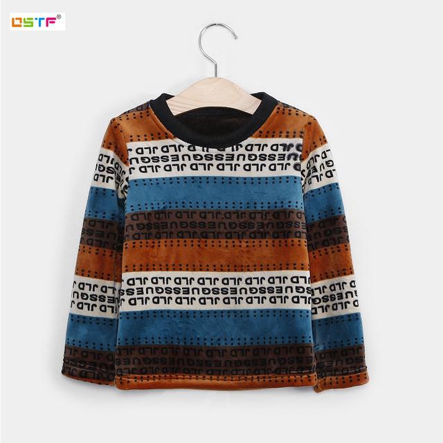 Crianças de Inverno de Espessura de Veludo T shirt das Meninas Dos Meninos T-shirt Meninos Roupas Roun Neck Básico Camisa Camisola da Roupa Do Bebê Roupa Infantil