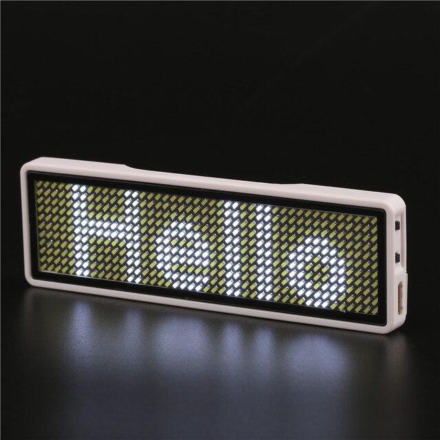 Bluetooth Programmable Blanc LED nom tag LED nom insigne Numérique affichage Défilement CONDUIT Signes