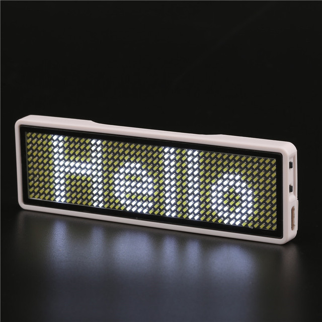 Bluetooth Programmable White LED name tag LED name badge Digital display Scrolling LED Signs