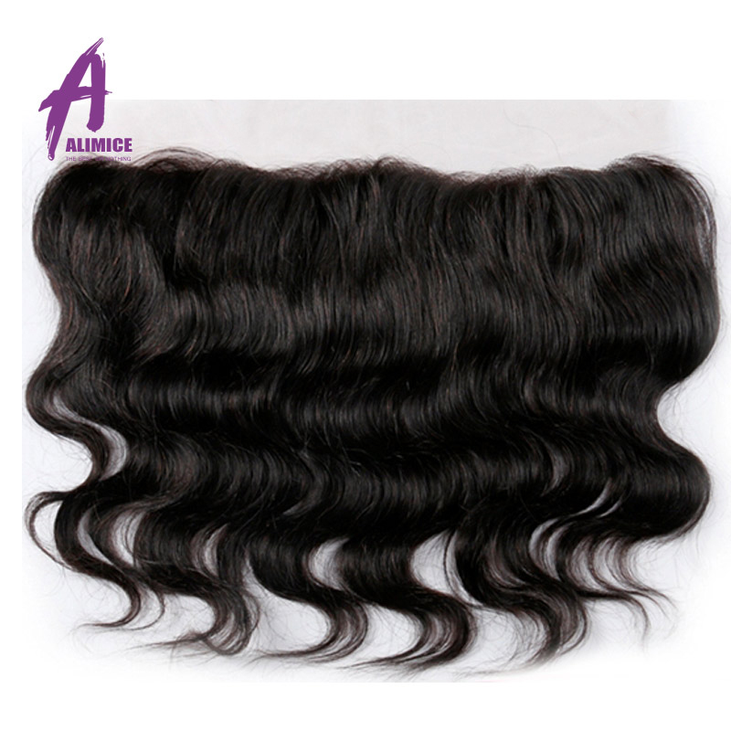 Alimice font b Hair b font Brazilian Body Wave 13X4 Lace Frontal Closure 100 font b