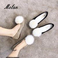 MOLAN Brand Fashion Sweet White Fur PomPom Flat Shoes Woman Good Quality Slip On Soft Warm