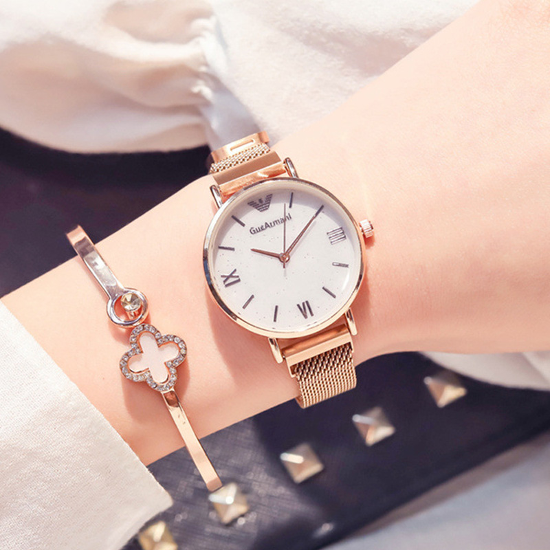 Luxury Gold Women Watches Fashion Mesh Magnet Buckle Woman Watches Cheap 2019 Roman Numerals Glitter Ladies Watches Montre FemmeLuxury Gold Women Watches Fashion Mesh Magnet Buckle Woman Watches Cheap 2019 Roman Numerals Glitter Ladies Watches Montre Femme