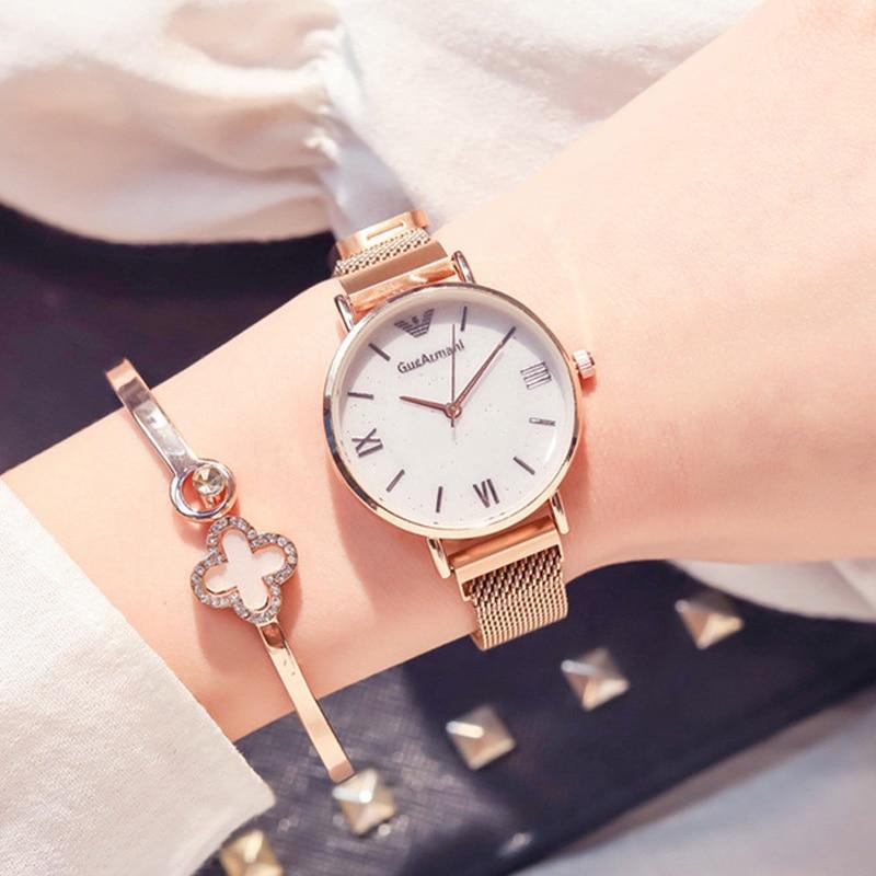 Luxury Gold Women Watches Fashion Mesh Magnet Buckle Woman Watches Cheap 2019 Roman Numerals Glitter Ladies Watches Montre Femme