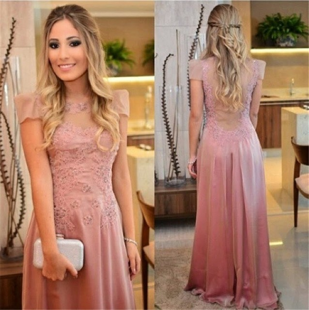 Elegant Long Light Pink Prom Dresses 2015 New A Line With Short ...