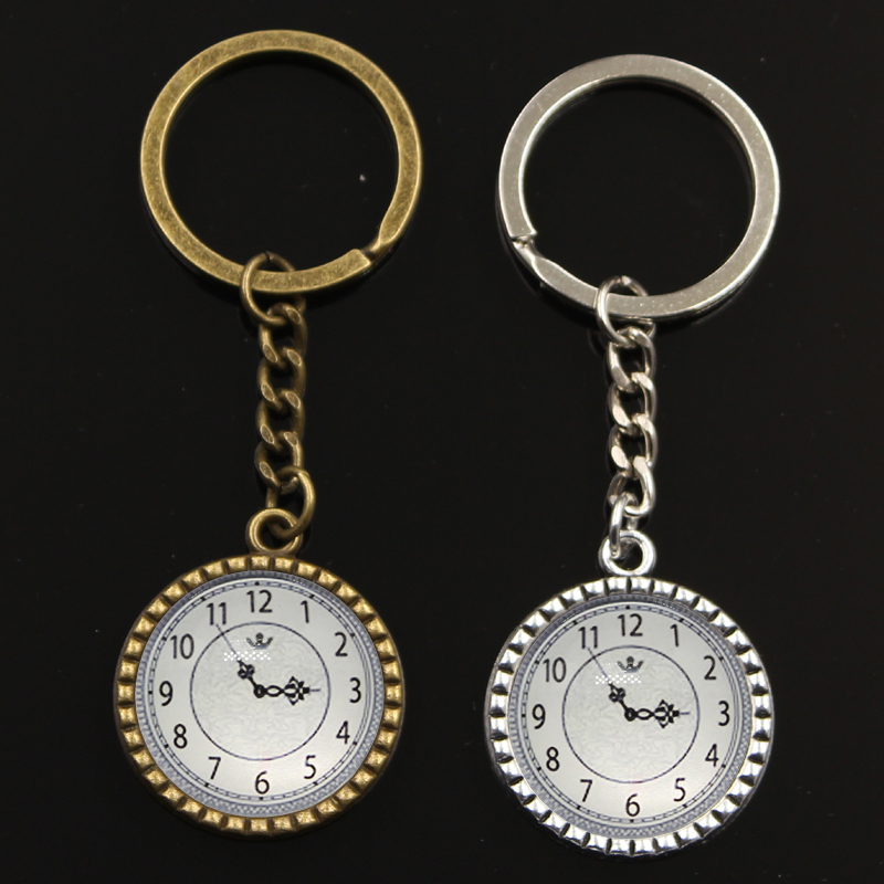 New Clock Pocket Watch Key Chain For Men Silver Metal Keychain Car Key Ring Simple Glass Cabochon Key Holder Party Gift Jewelry