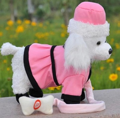 Electric dog pink cloth toy poodle dog about 30cm plush toy ,walking ,buttocks twisting ,Christmas gift w8879