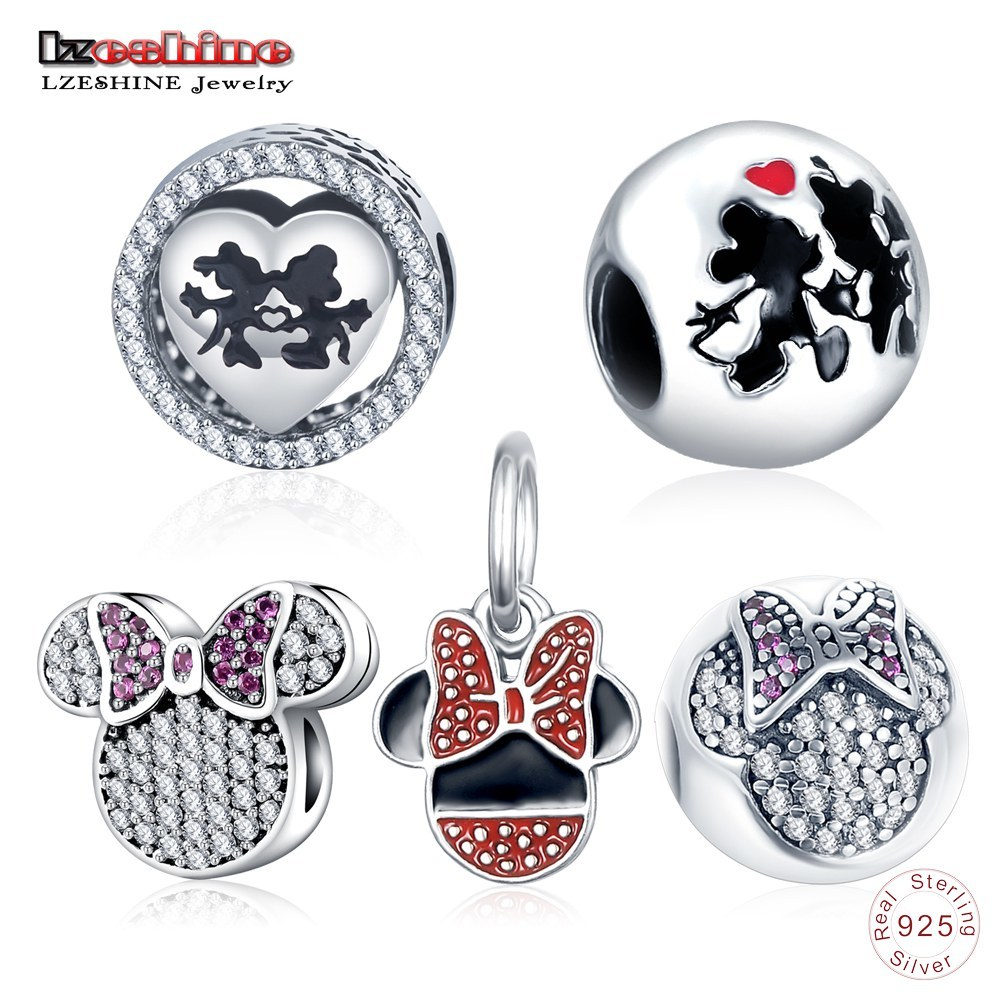 LZESHINE 5 Styles Sweet Cartoon Love Charms Real 925 Sterling Silver Charms Beads Fit Pandora Bracelet Jewelry Making PSMB0463