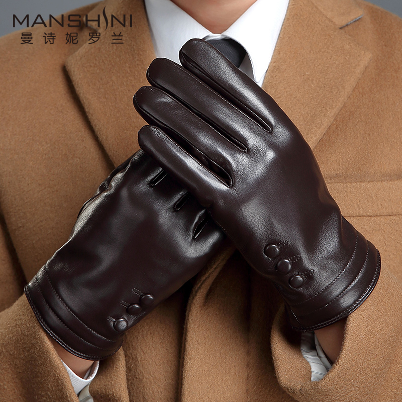 Genuine Leather Gloves Men Winter Outdoor Keep Warm Add Cashmere Large Size Sheepskin Gloves Touch Screen Gloves MLZ111
