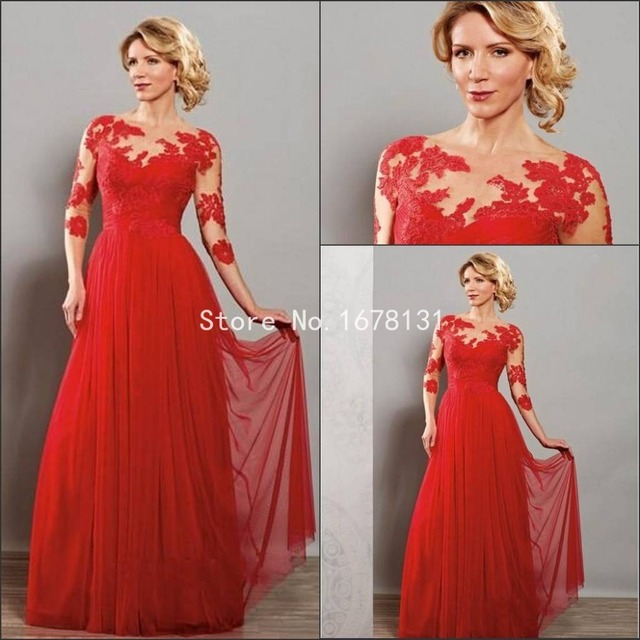 c0f58e6ab58 2015 Hot Mother s Gowns Mother of The Bride Dresses Sexy Mother Bride Groom  Dresses Lace Long Red Chiffon Evening Dress FF487
