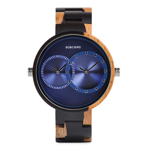 Round Shaped Mechanical Wooden Watch