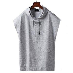Image 1 - TOP de algodão verão camiseta homens tamanho grande com capuz cara gordo plus size dos homens T shirt de manga curta quadril hop L 7XL 8XL 9XL busto 160 cm
