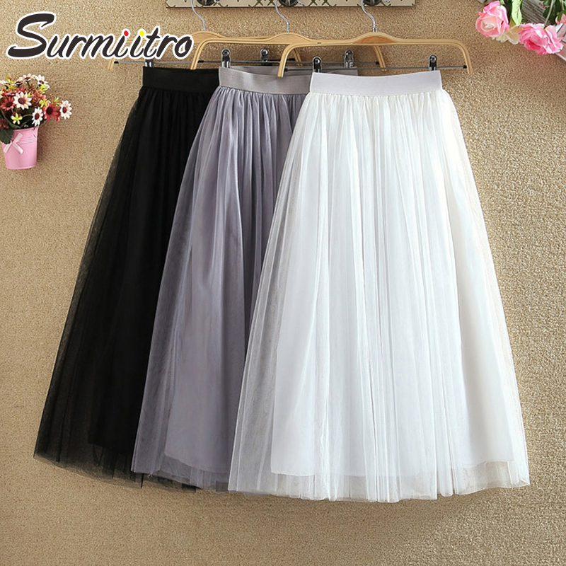 Surmiitro 3 Layers Midi Summer Tulle Skirt Women 2019 Ladies Casual White Black High Waist Pleated Sun School Long Skirt Female