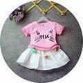 2016 verano ropa de bebé traje de gato impresión camiseta Niña conjuntos de dos piezas de Ropa del cabrito playa set party girl pijamas del bebé ropa de recién nacido