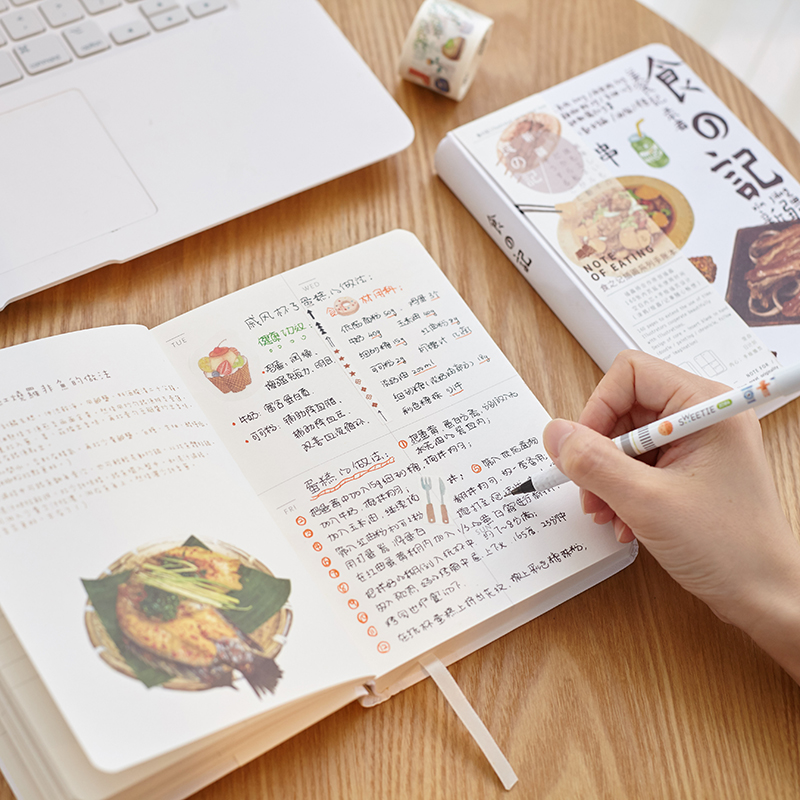 MIRUI new creative food remember food hardcover notebook illustration inside page hand book diary student school office supplies
