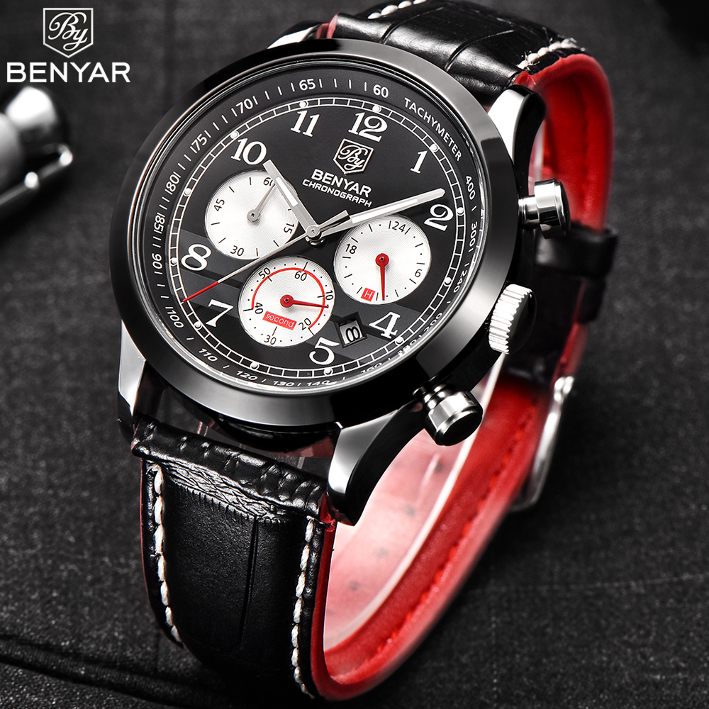 BENYAR Mens Watches Top Brand Luxury Quartz Watch Men Sport Chronograph Military Leather Strap Male Watches relogio masculino casual mens watches top brand luxury men s quartz watch waterproof sport military watches men leather relogio masculino benyar