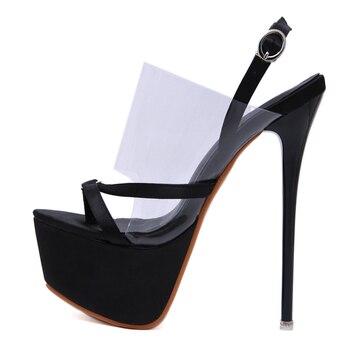 3cf806455ae Zapatos de mujer tacones Sexy transparente de PVC sandalias de las mujeres  sandalias de verano zapatos de mujer zapatos con tacones 17 cm para mujer  Zapatos ...