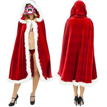 Abbille Christmas Cape for Women Christmas Clothing Adult Sexy Christmas Costume Santa Claus Hooded Cloak Costume Free Shipping