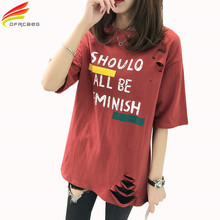 Hollow Out Print Hole T Shirt Women 2017 Summer New Fashion Letter Short Sleeve Tops For Women Red White Loose Tee Shirt Femme