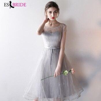 187fbca7775 Nueva llegada vestidos largos De gasa para Dama De honor para mujer  elegante Vestido Da Dama De honor gris Formal vestidos De fiesta De boda  ES1312