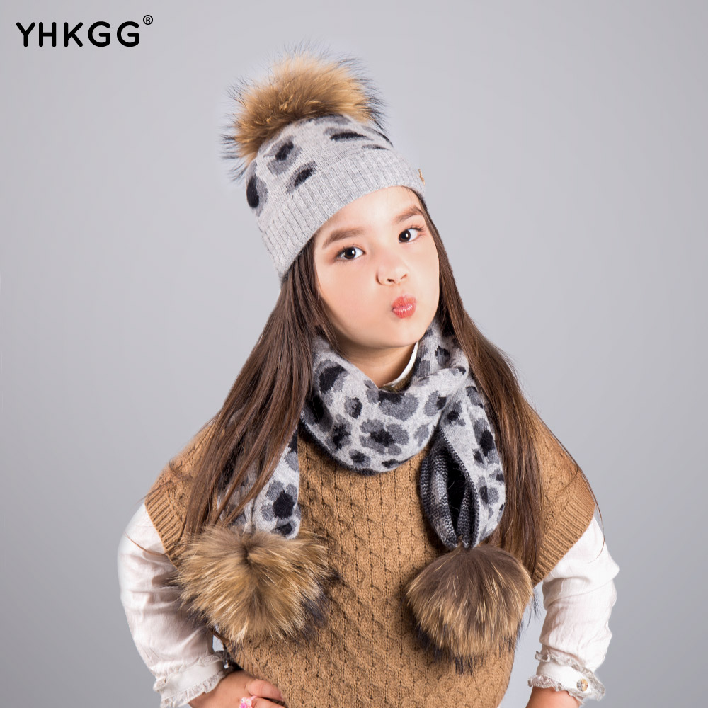 ФОТО 2016 Piece Scarf hat The leopard print Children Winter Raccoon Fur Hats pompom Cap Natural Fur Hat For girl of Children