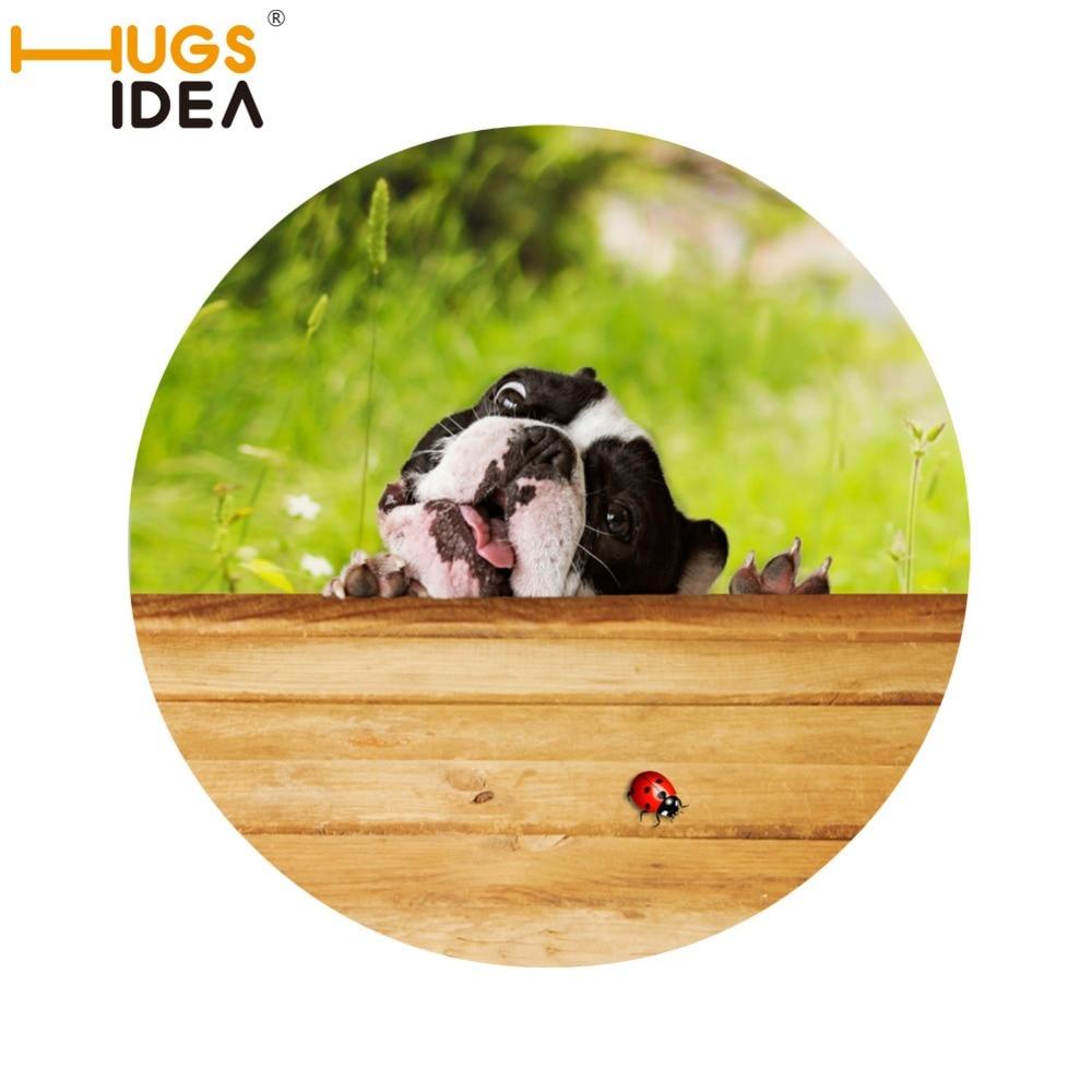 HUGSIDEA 3D Cat Dog Non Slip Round Carpet For Living Room Green Tapis Salle  De Bain Floor Sticker Tapete Kids Children Bedroom
