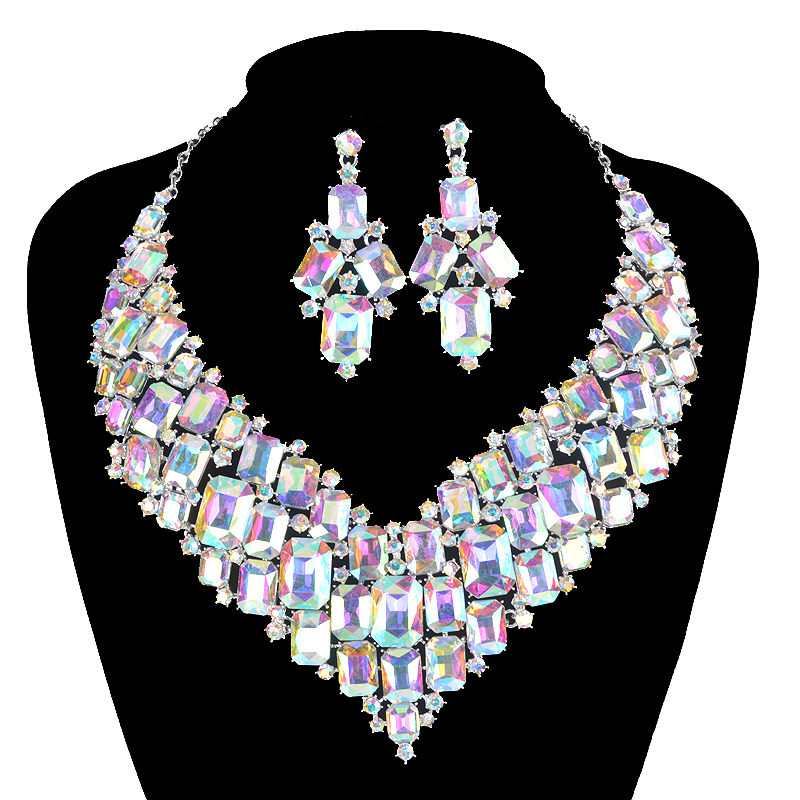 Statement ab shiny crystal Square necklace earrings women party show Jewelry sets Costume Jewellery Brides Accessories GiftsStatement ab shiny crystal Square necklace earrings women party show Jewelry sets Costume Jewellery Brides Accessories Gifts