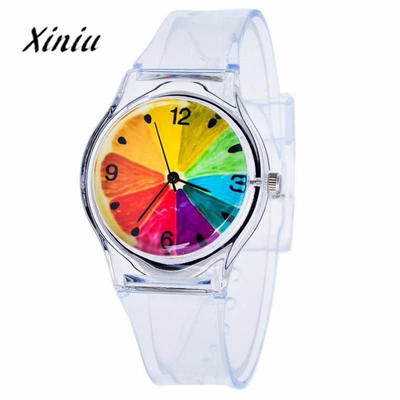 Xiniu Watch Transparent Clock Silicone Watches Women Sport Quartz Wristwatches Novelty Crystal Ladies Watch Cartoon reloj mujer(China)