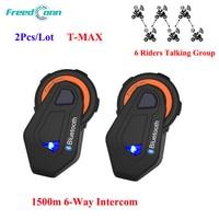2 Pcs Lot FreedConn T MAX 1500m Motorcycle Helmet Bluetooth Interphone Headset 6 Riders Group Talking