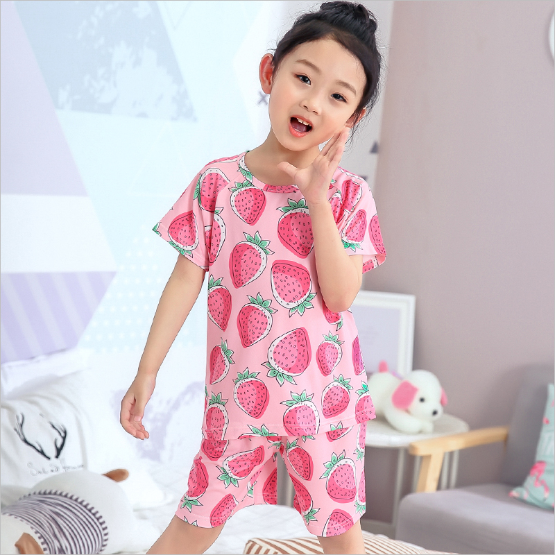 Children   Pajamas   for Girl   Set   2019 Summer Cute Short Sleeve Pant Kids Sleepwear   Set   Print Boy Home Wear Clothing