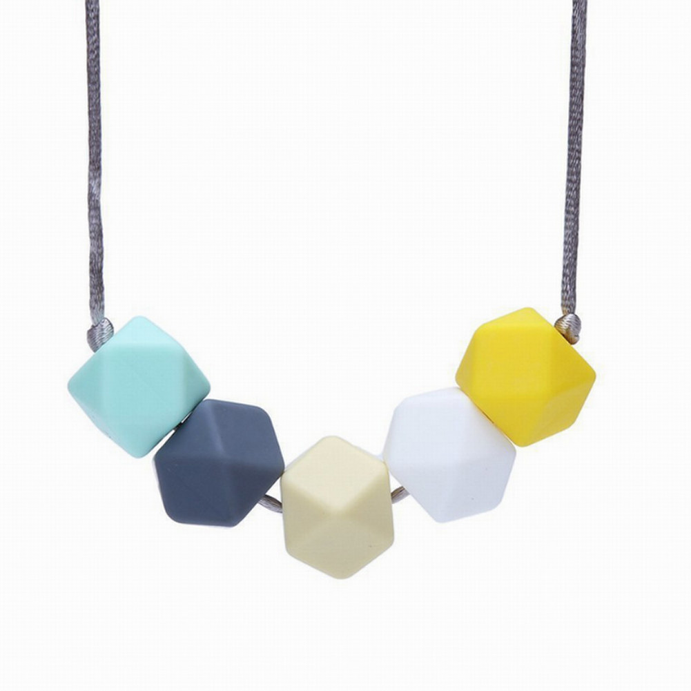 1PC Cute Baby Silicone Teether Chain Charm Polygon Beads Necklace Teething Nacklace ...