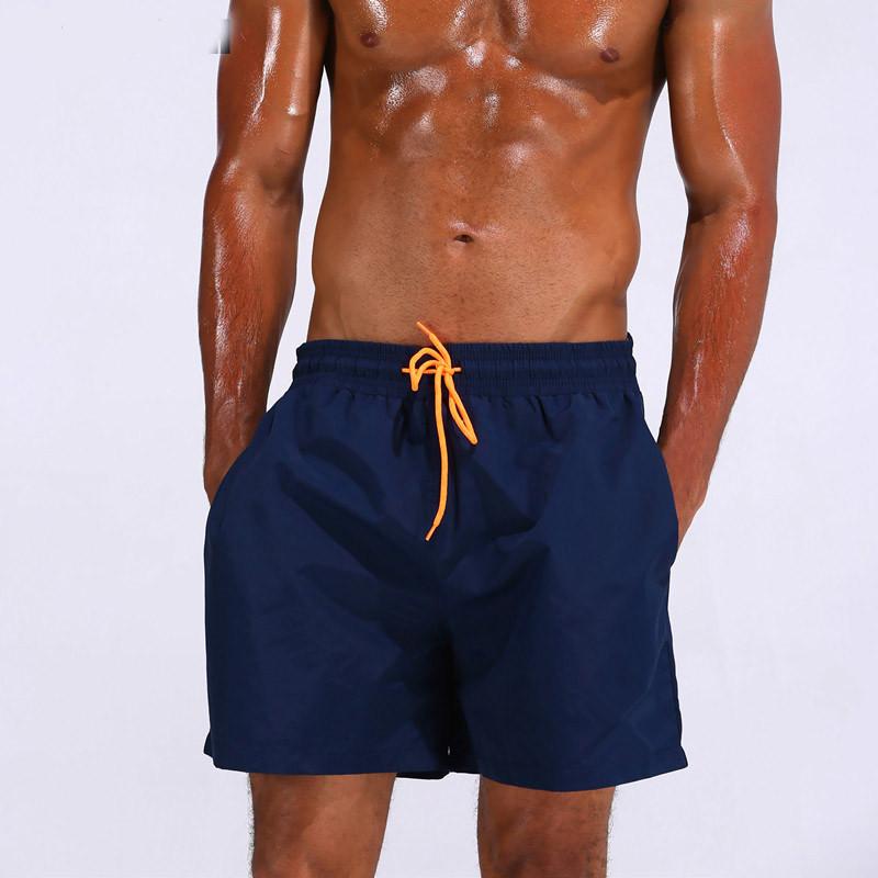 UMLIFE Swim Trunks Men Breathable Sport Swimming Shorts Solid Color Swim Briefs Elastic Waist Beach Shorts Summer Swim Shorts  (1)