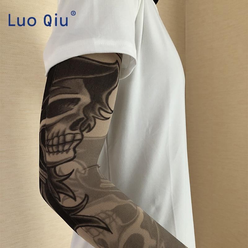 6pcs Temporary Tattoos Skull Pattern Tattoo Fake Arm Sleeves & Cuffs Kit Women & Men Fashion Six Styles Tool