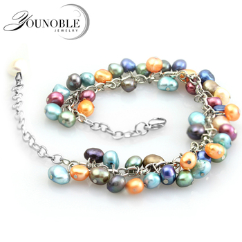 Wedding Freshwater Pearl Bracelet for Women Jewelry,Real Natural Pearl Bracelets 925 Silver Girl Best Gift Birthday colorful
