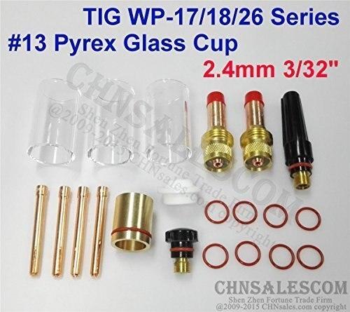 CHNsalescom 21 pcs TIG Welding 45V25 Gas Lens #13 Pyrex Cup Kit for Tig WP-17//18//26 1//16