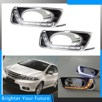 2Pcs ABS LED Daytime Running Lights For Honda City 2012 2011 2013 Front Bumper White Yellow