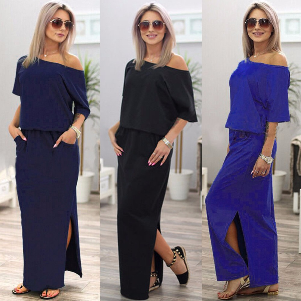 Online Shop Maxi Dress Women Summer Off Shoulder Strapless Tunic Casual  Loose Long Dresses Lady Sexy Side Split Party Dress LDW720  60442be8fd86