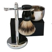 TEYO Silvertip Badger Hair Shaving Brush Set Include Resin Handle Beard Brush Double Layer Shaving Bowl Chrome Stand for Shave