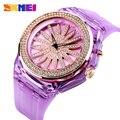 SKMEI красивые кварцевые часы  модные женские часы  творческие  вращающиеся  с цветным циферблатом  светодиодные  прозрачные  с ремешком  reloj muje...