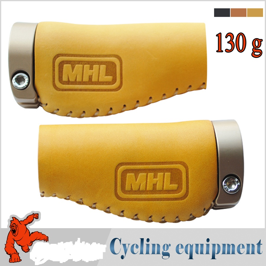 2017 MHL bicycle grips short deform cycling bike handlebar mtb leather grip ACTOIN-600S2 aluminum alloy lockring - world equipment store