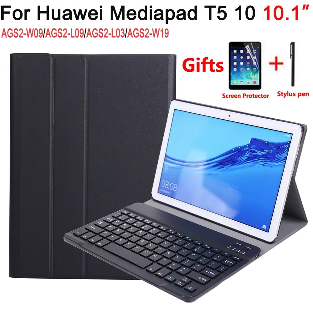 Funda de teclado Bluetooth para Huawei Mediapad T5 10 10,1 AGS2-W09/L09/L03/W19 del teclado para Huawei t5 10 10,1 + teclado