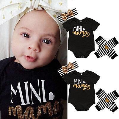 4pcs Newborn Infant Kids Baby Girl Clothing Romper Short Sleeve Leg Warmer Striped Headband Clothes Baby Girls Outfit Set  недорого